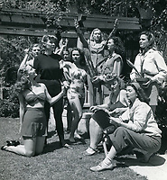 1940 Ladies in the backyard of the Hollywood Studio Club at 1215 Lodi
