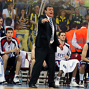 Efes Pilsen's players (Left to Right) Kaya PEKER, Ermal KURTOGLU, Dusan CANTEKIN, Bostjan NACHBAR, Ali ISIK and Coach Ergin ATAMAN (F) during their Turkish Basketball league Play Off Final Sixth Leg match Fenerbahce Ulker between Efes Pilsen at the Abdi Ipekci Arena in Istanbul Turkey on Wednesday 02 June 2010. Photo by Aykut AKICI/TURKPIX