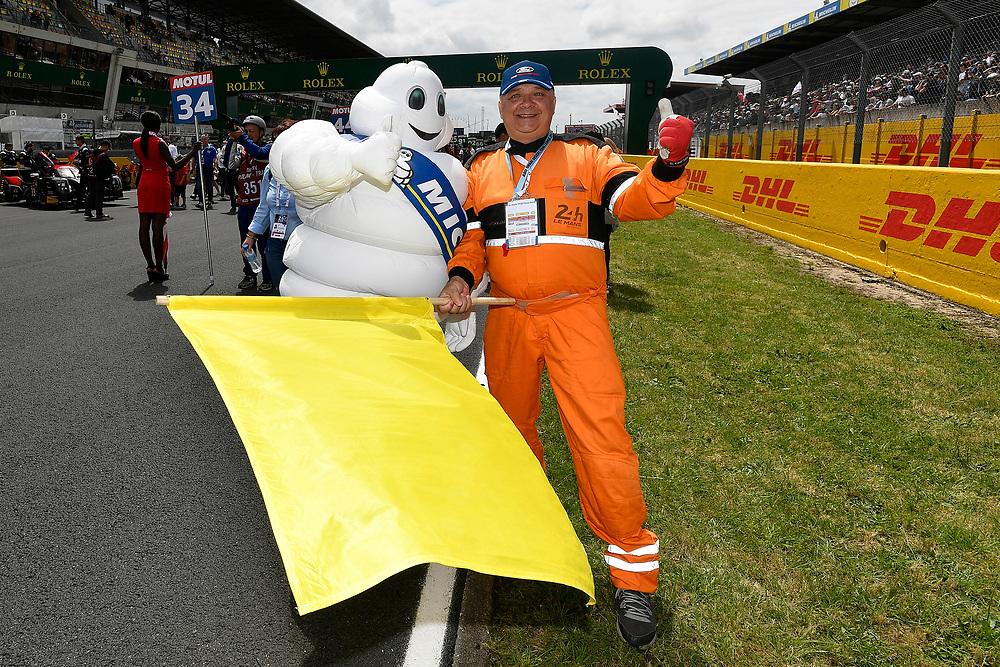 Bib, Bibendum, Michelin Man, grid walk, pre-race<br /> Saturday 16 June 2018<br /> 24 Hours of Le Mans<br /> 2018 24 Hours of Le Mans<br /> Circuit de la Sarthe  FR<br /> World Copyright: Scott R LePage