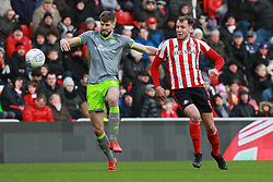 March 16, 2019 - Sunderland, Tyne and Wear, United Kingdom - Sunderland's Charlie Wyke contests for the ball with Walsall's Jon Guthrie during the Sky Bet League 1 match between Sunderland and Walsall at the Stadium Of Light, Sunderland on Saturday 16th March 2019. (Credit: Steven Hadlow | MI News) (Credit Image: © Mi News/NurPhoto via ZUMA Press)