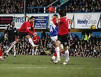 Photo: Lee Earle.<br /> Portsmouth v Manchester United. The Barclays Premiership. 11/02/2006. United's Cristiano Ronaldo scores their second.