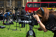 Media gather to report on the result at College Green in Westminster outside the Houses of Parliamant following a Leave vote, also known as Brexit as the EU Referendum in the UK votes to leave the European Union on June 24th 2016 in London, United Kingdom. Membership of the European Union has been a topic of debate in the UK since the country joined the EEC, or Common Market in 1973. It will be the second time the British electorate has been asked to vote on the issue of Britains membership: the first referendum being held in 1975, when continued membership was approved by 67% of voters. The two sides are the  Leave Campaign, commonly referred to as a Brexit, and those of the Remain Campaign who are also known as the In Campaign.