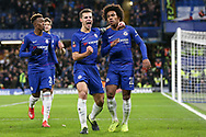 Chelsea Defender Cesar Azpilicueta punches the air as he celebrates with Chelsea Midfielder Willian after his penalty kick goal 1-0 during the The FA Cup fourth round match between Chelsea and Sheffield Wednesday at Stamford Bridge, London, England on 27 January 2019.
