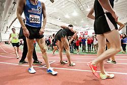 Boston University Terrier Invitational Indoor Track Meet: Galen Rupp, Oregon Project, wins Elite Mile 3:50.92, congratulated by teammate
