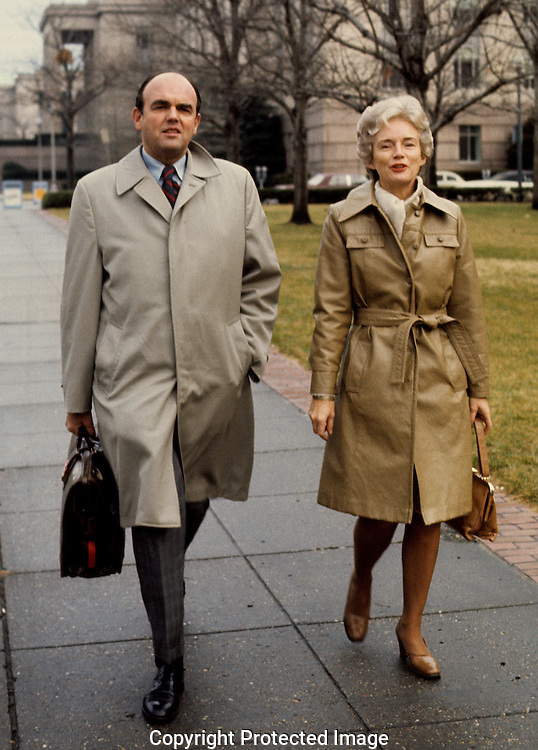 John Ehrlichman and wife Jeanne arrive at US District court in January 1975..Photograph by Dennis Brack