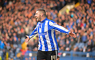 Sheffield Wednesday Forward Gary Hooper makes it 2-0 during the Sky Bet Championship match between Sheffield Wednesday and Leeds United at Hillsborough, Sheffield, England on 16 January 2016. Photo by Adam Rivers.