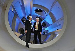 © London News Pictures. 12/01/2011. Chris Huhne, The British Secretary of State for Energy and Climate Change, visits Pelamis Wave Power in Edinburgh. Pelamis Wave Power Ltd is the manufacturer of a unique system to generate renewable electricity from ocean waves Picture - .Picture - L TO R - Chris Huhne (MP), Richard Yemin (Pelamis Wave Power). Picture credit should read Angus Blackburn/LNP