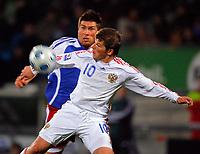 Fabio D'Elia (LIE) gegen Andrey Arshavin (RUS). © Eddy Risch/EQ Images