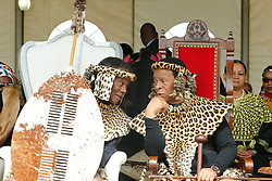 Ulundi 270818: His Royal Highness Prince Mangosuthu Buthelezi listens to King Goodwill Zwelithini at his 90th Birthday held at Prince Mangosuthu Buthelezi stadium in Ulundi where thousands came to celebrate.<br /> Picture:Sibonelo Ngcobo/ African News Agency (ANA)
