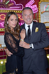 Alicia Vikander and Jean-Christophe Babin, CEO of Bulgari attending a ribbon cutting ceremony of a Bulgari pop-up store at the Galleries Lafayette department store as part of 2017/18 Fall Winter Haute Couture Fashionweek in Paris, France on July 04, 2017. Photo by Aurore Marechal/ABACAPRESS.COM