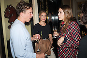 CYPRIEN GAILLARD; EUGENIE NIARCHOS; DASHA ZHUKOVA, Opening of Morris Lewis: Cyprien Gaillard. From Wings to Fins, Sprüth Magers London Grafton St. London. Afterwards dinner at Simpson's-in-the-Strand hosted by Monika Spruth and Philomene Magers.