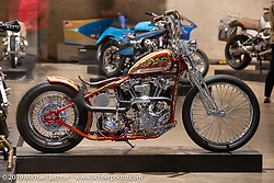 Billy Guthery and his son Harley turned out this custom 1940 Harley-Davidson Knucklehead from their father-son Guthery Customs shop in Edmund, OK. Here on display at the Handbuilt Show. Austin, TX. USA. Friday April 20, 2018. Photography ©2018 Michael Lichter.