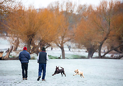 © Licensed to London News Pictures. 28/12/2020. London, UK. Dog walkers enjoy a frosty Richmond Park, South West London as it turned into a winter wonderland this morning as temperatures dropped to -3c in the South East today. The Met Office has issued a yellow weather warning for snow and ice for much of the country with heavy snow falls already in Wales, West Midlands, and Cheshire last night. Photo credit: Alex Lentati/LNP