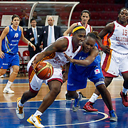 Galatasaray's Donneka HODGES (C), Melisa CAN (R) and Halcon Avenida's Sancho LYTTLE (2ndR), Marta XARGAY (B) during their woman Euroleague group C matchday 9 Galatasaray between Halcon Avenida at the Abdi Ipekci Arena in Istanbul at Turkey on Wednesday, January 12 2011. Photo by TURKPIX