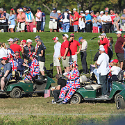 Ryder Cup 2016. Day Three. Fans await the action near the seventeenth during the Sunday singles competition at  the Ryder Cup tournament at Hazeltine National Golf Club on October 02, 2016 in Chaska, Minnesota.  (Photo by Tim Clayton/Corbis via Getty Images)
