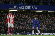 N'golo Kante of Chelsea is congratulated off the pitch by Willian of Chelsea (c). <br /> Premier league match, Chelsea v Stoke city at Stamford Bridge in London on Saturday 30th December 2017.<br /> pic by Kieran Clarke, Andrew Orchard sports photography.