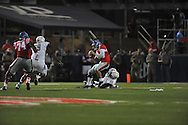 Mississippi Rebels quarterback Chad Kelly (10) is sacked by Vanderbilt Commodores linebacker Stephen Weatherly (45) at Vaught-Hemingway Stadium at Ole Miss in Oxford, Miss. on Saturday, September 26, 2015. (AP Photo/Oxford Eagle, Bruce Newman)