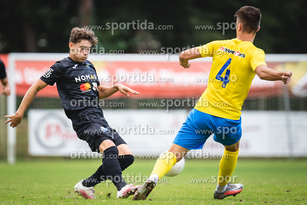Žan Trontelj of Bravo and Luka Verbič of ND Beltinci during football match between ND Beltinci and NK Bravo in 1st Round of Pokal Slovenije 2020/21, on September 23, 2020 in Športni park Beltinic, Slovenia. Photo by Blaž Weindorfer / Sportida