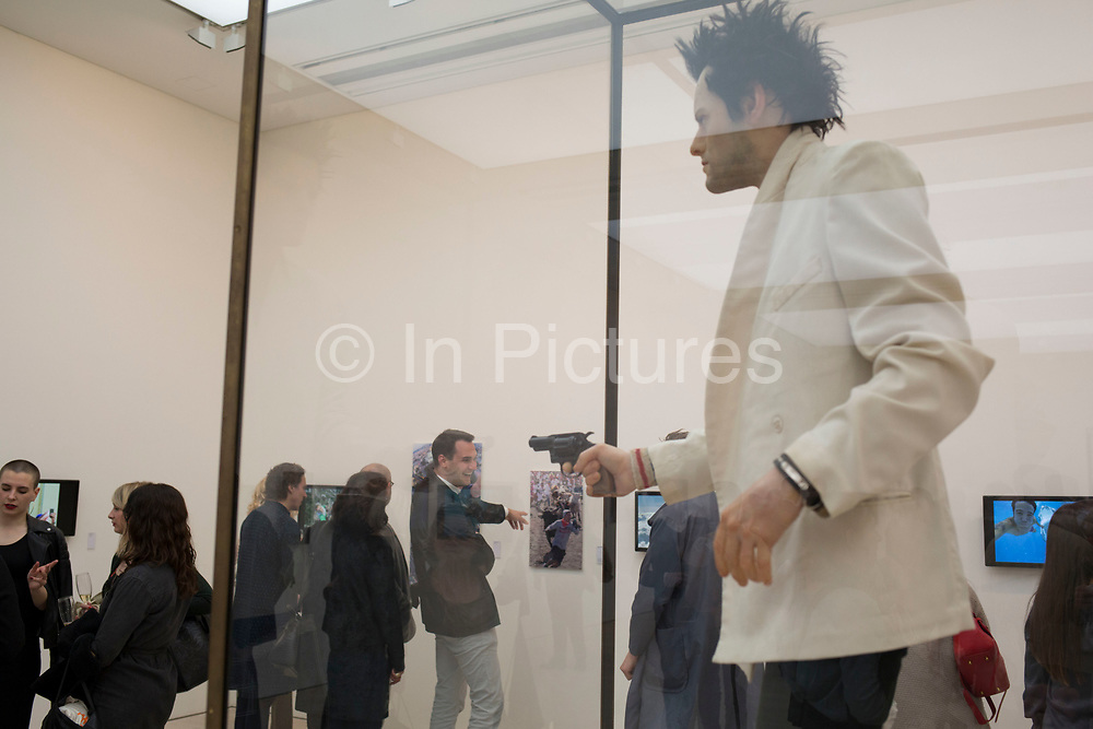 From Selfie to Self-Expression opening private view at the Saatchi Gallery on March 30th 2017 in London, England, United Kingdom. This is the world's first exhibition exploring the history of the selfie from the old masters to the present day, celebrating the truly creative potential of a form of expression often derided for its inanity. Pop. 1993. Waxwork of the Gavin Turk as Sid Vicious.