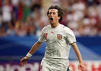 Photo: Chris Ratcliffe.<br /> USA v Czech Republic. Group E, FIFA World Cup 2006. 12/06/2006.<br /> Tomas Rosicky of Czech Republic celebrates scoring the third Czech Republic goal.