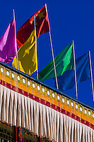 Flags, Lhasa, Tibet, (Xizang, China).