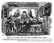 """Scene in a Tunnel. How to clear a carriage for a cigar. Ferocious looking passenger (to old gent who objects to smoking). """"That's a pretty knife; ain't it? That's the sort o' thing we use in California! Jolly thing to stick into a fellow, eh?"""" [Old gent fears his companion is not """"quite right,"""" and changes his carriage at the next station."""