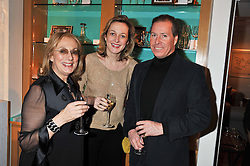 A dinner hosted by Ruinart Champagne in honour of David Linley was held at Linley, 60 Pimlico Road, London SW1 on 8th December 2011.<br /> Left to right, NINA CAMPBELL, RITA KONIG and DAVID LINLEY