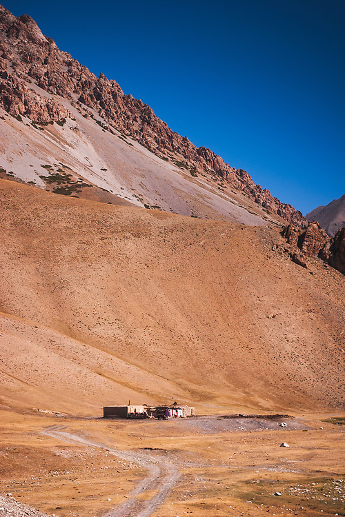 Farmstead high in the mountains on the Kyrgyz / Tajik border - with glorious views down the valley (behind me) to the High Pamirs). Sitting on part of the southern route of the ancient Silk Roads this may seem remote but was very much a part of ancient trading routes.