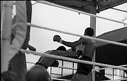 Ali vs Lewis Fight, Croke Park,Dublin..1972..19.07.1972..07.19.1972..19th July 1972..As part of his built up for a World Championship attempt against the current champion, 'Smokin' Joe Frazier,Muhammad Ali fought Al 'Blue' Lewis at Croke Park,Dublin,Ireland. Muhammad Ali won the fight with a TKO when the fight was stopped in the eleventh round...Picture of Ali as he sends Lewis on to the defensive.