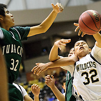 012414  Adron Gardner/Independent<br /> <br />  Chinle Wildcat Sooner (32) ties up with Tuba City Warrior Tyler Johnson (25) in Chinle Friday.