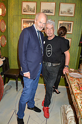 Left to right, HARRY FANE and NICKY HASLAM at a party to celebrate the publication of 'A Girl From Oz' by Lyndall Hobbs held at Flat 1, 165 Cromwell Road, London on 12th May 2016.