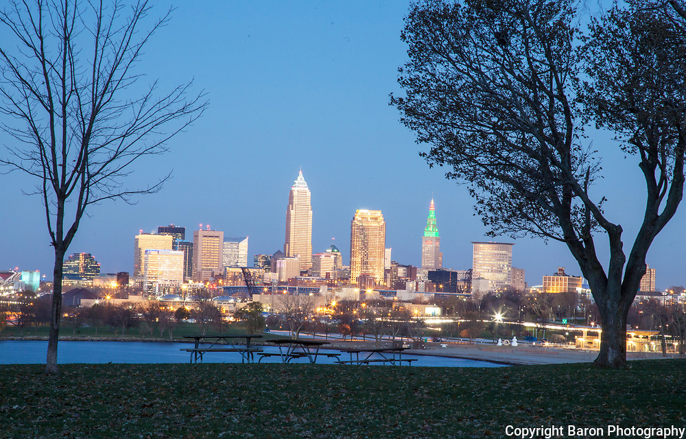 Cleveland skyline at night looking east