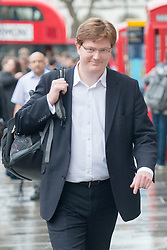 © Licensed to London News Pictures. 07/04/2014. London, UK Liberal Democrat MP and Chief Secretary to the Treasury, Danny Alexander, arrives at the Treasury building on Whitehall today 7th April 2014. Photo credit : Stephen Simpson/LNP