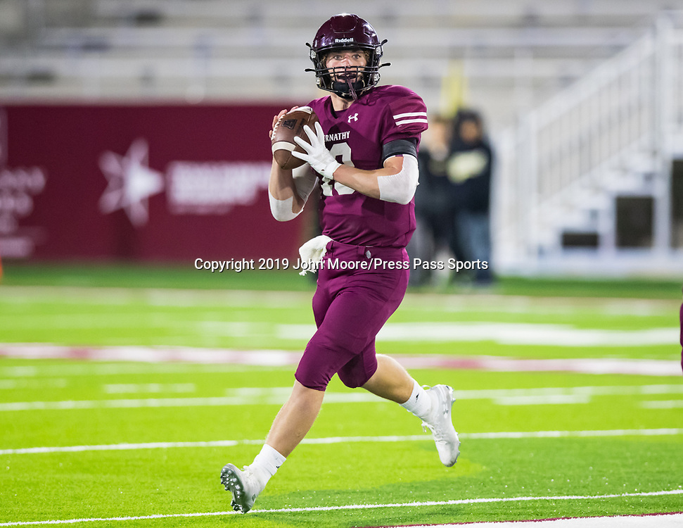 Abernathy's Bryson Daily (13) scrambles with the ball against Canadian in the UIL 3A-D2 Region 1 Championship on Friday, Dec. 6, 2019, at Buffalo Stadium in Canyon, Texas. [Photo by John Moore/Press Pass Sports]
