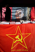 Pamphlets and literature on a stall of the Communist Party of Great Britain gather in Trafalgar Square during the traditional May Day celebrations in the capital, on 1st May 2018, in London, England.