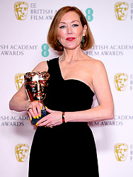 Anne Morgan with the award for Make-up and Hair in the press room at the 73rd British Academy Film Awards held at the Royal Albert Hall, London.