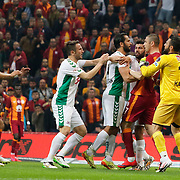 Galatasaray's Burak Yilmaz (2ndR) and TorkuKonyaspor's Ali Turan (C) during their Turkish Super League soccer match Galatasaray between TorkuKonyaspor at the AliSamiYen Spor Kompleksi TT Arena at Seyrantepe in Istanbul Turkey on Friday, 08 May 2015. Photo by Kurtulus YILMAZ/TURKPIX