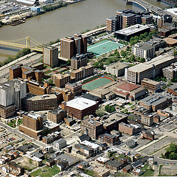 Aerial view of the  DUQUESNE UNIVERSITY in downtown pittsburgh PA