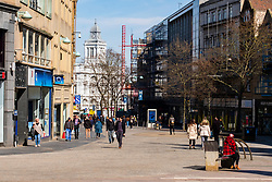 Fargate Sheffield one of the busier areas of the city on Monday 22 March 2020<br /> <br /> www.pauldaviddrabble.co.uk<br /> All Images Copyright Paul David Drabble - <br /> All rights Reserved - <br /> Moral Rights Asserted -
