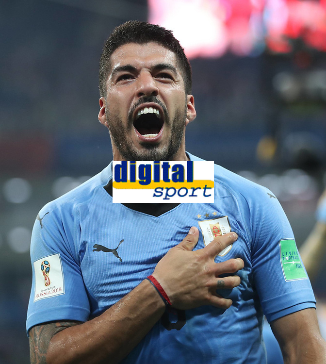 WM 2018, Uruguay - Portugal (180630) -- SOCHI, June 30, 2018 -- Luis Suarez of Uruguay celebrates victory after the 2018 FIFA World Cup WM Weltmeisterschaft Fussball round of 16 match between Uruguay and Portugal in Sochi, Russia, June 30, 2018. Uruguay won 2-1 and advanced to the quarter-final. ) (SP)RUSSIA-SOCHI-2018 WORLD CUP-ROUND OF 16-URUGUAY VS PORTUGAL FeixMaohua PUBLICATIONxNOTxINxCHN