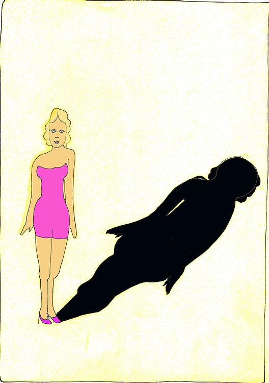 driebergen, 25 febr  2009.illustratie over een rolmodel. slanke vrouw met dikke schaduw.. Foto: (c) Renee Teunis