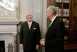 Most famous impostor Frank Abagnale, talks to Senator Jerry Moran before testifying to the Senate Commerce subcommittee on fighting scams and Consumer Protection, on Tuesday, March 21, 2017 in Washington DC . Abagnale's life story inspired the Academy Award-nominated feature film Catch Me If You Can (2002) by Steven Spielberg, starring Leonardo DiCaprio as Abagnale. Photo by Olivier Douliery/ Abaca