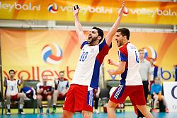 20170524 NED: 2018 FIVB Volleyball World Championship qualification, Koog aan de Zaan<br />Juan Pablo Stutz (10) of Luxembourg, Gilles Braas (6) of Luxembourg<br />©2017-FotoHoogendoorn.nl / Pim Waslander