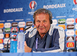 BORDEAUX, FRANCE - Friday, June 10, 2016: Slovakia's head coach Jan Kozak during a press conference at the Stade de Bordeaux ahead of their opening game of the UEFA Euro 2016 Championship against Wales. (Pic by UEFA Handout/Propaganda)