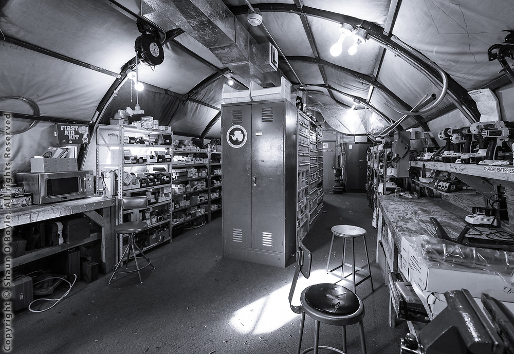 The electrical shop in the South Pole backyard