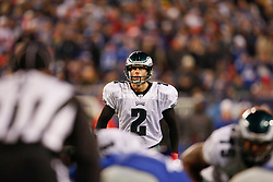Philadelphia Eagles PK David Akers #2 prepares for an extra point attempt during the NFL game between the Philadelphia Eagles and the New York Giants on December 13th 2009. The Eagles won 45-38 at Giants Stadium in East Rutherford, New Jersey. (Photo By Brian Garfinkel)