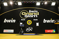 The main stage during the Grand Slam of Darts 2018 at Aldersley Leisure Village, Wolverhampton, United Kingdom on 15 November 2018.