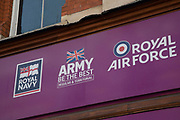 British Army, Royal Air Force and Royal Navy recruitment office in Birmingham, United Kingdom.