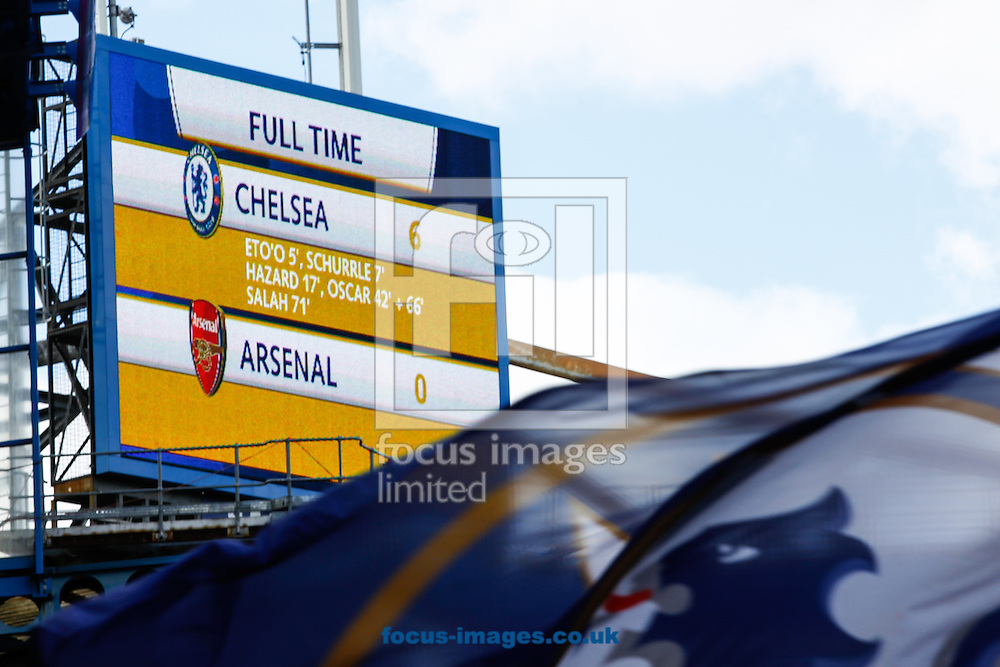 The scoreboard at Chelsea reads out the final score of 6-0 to Chelsea during the Barclays Premier League match at Stamford Bridge, London<br /> Picture by Andrew Tobin/Focus Images Ltd +44 7710 761829<br /> 22/03/2014