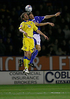 Photo: Steve Bond.<br />Leicester City v Leeds United. Coca Cola Championship. 13/03/2007. Richard Cresswell in an aerial challange